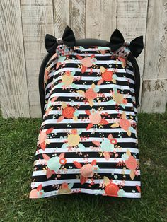 Adorable Baby Girl Modern Stripes and Flowers Infant Car Seat Canopy from www.etsy.com/shop/sugarpeascreations