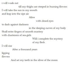 cummings ~ i will wade out.I'm pinning the entire poem (not just the excerpt I pinned yesterday) as I find it deliciously intoxicating! Pretty Words, Love Words, Burning Flowers, Ee Cummings, Word Nerd, Writers And Poets, Closed Eyes, So Much Love, Deep Thoughts