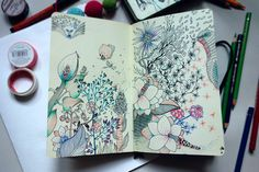 Art journal in 2019 sketchbook pages, artist, art sketchbook. Art And Illustration, Flowers Illustration, Art Illustrations, Sketchbook Pages, Art Journal Pages, Art Journals, Small Sketchbook, Visual Journals, Moleskine