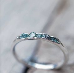 Hidden raw diamond ring, sterling silver, blue diamonds - dainty stacking ring- Tap the link now to see our super collection of accessories made just for you!