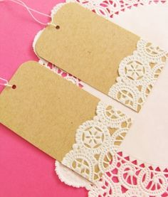 "gift tags for food ""gifts from the kitchen."" DIY paper craft idea - add strips of lace from paper doilies to dress up gift tags. Christmas Gift Tags, Christmas Crafts, Christmas Wrapping, Holiday Gifts, Xmas, Wedding Gift Wrapping, Wrapping Gifts, Wrapping Ideas, Wedding Cards"