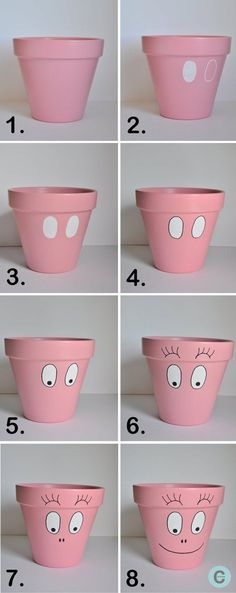 Tuto kids: customized pots in DIY characters: Barba-pot, the different stages. A mustbpour Petit Lutin who is a fan of barbapapa! Clay Pot Projects, Clay Pot Crafts, Diy Clay, Diy Crafts, Shell Crafts, Flower Pot Art, Clay Flower Pots, Flower Pot Crafts, Flower Pot People