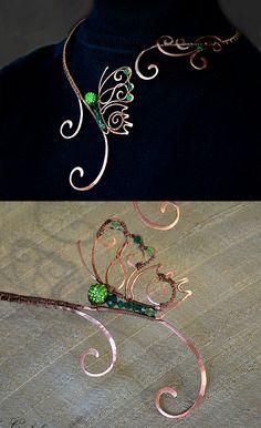 Necklace, butterfly, Jewelry, Jewelry made of copper, Wire Wrap, copper jewelry,  jewelry set, shamballa beads