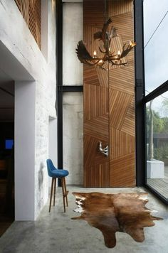 wall cladding - Ant Farm House by Xrange Architects Interior Walls, Interior And Exterior, Interior Design, Interior Styling, Modern Wood Doors, Modern Hallway, Door Design, House Design, Chalet Design