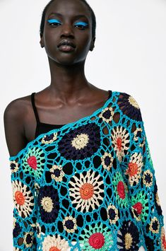 Form Crochet, Granny Square Crochet Pattern, Crochet Woman, Crochet Motif, Diy Crochet, Crochet Top, Knitting Patterns, Crochet Patterns, Crochet Summer Tops