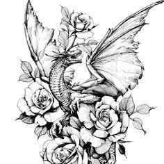 Mandala Tattoo Design, Tattoo Designs, Dragon Tattoo With Flowers, Flower Tattoos, Art Work, Floral, Decor, Tattoos Of Flowers, Artwork