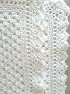 White crochet christening baptism baby blanket with fancy edge ~ found on Etsy by jesjaymat ~ she SELLS it ~ very pretty! Mobiles En Crochet, Crochet Mobile, Baby Knitting, Crochet Baby, Free Crochet, Knitted Baby, Baby Patterns, Crochet Patterns, Crochet Borders