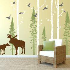 In An Instant Art offers a vast selection of birch tree wall decals, great for children's rooms or living spaces and easy to apply and reposition.
