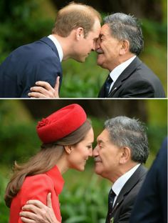 The traditional Hongi greeting..