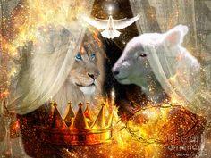 Lion Of Judah Lamb Of God Holy Spirit Digital Art - Ha-shilush Ha-kadosh by Dolores Develde Lion And Lamb, Tribe Of Judah, Jesus Art, Prophetic Art, Biblical Art, Lion Of Judah, Jesus Pictures, Jesus Is Lord, The Kingdom Of God