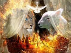 Lion Of Judah Lamb Of God Holy Spirit Digital Art - Ha-shilush Ha-kadosh  by Dolores Develde