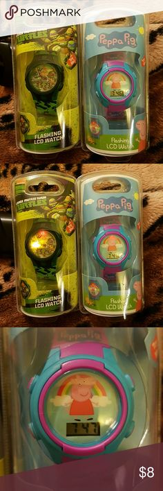Peppa Pig & Teenage Mutant Ninja Turtles Watches Peppa Pig & Teenage Mutant Ninga Turtles Watches  These are new & factory sealed.  They flash colorful LCD lights, display the time, date & seconds.  Lots of fun!! Jewelry