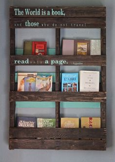 pallet bookshelf   Pallet Bookshelf Stores The Mess Inside   101 Pallets