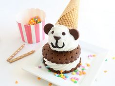 Take ice cream cake to a whole new level with this this cute and clever Birthday Bear Ice Cream Sandwich.