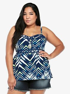 Blue Chevron Print Plus Size Empire Top.  They also make this as a plus size maxi dress http://www.pinterest.com/pin/237494580324095092/