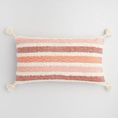 Oversized Coral Stripe Indoor Outdoor Patio Lumbar Pillow: Red by World Market Diy Throw Pillows, Colorful Throw Pillows, Cute Pillows, Outdoor Throw Pillows, Decorative Pillows, Best Pillow, Perfect Pillow, Cricut, Outdoor Cushions