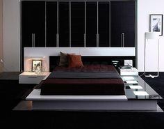 white platform bed with dark features - Google Search