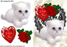 I LOVE YOU HEART WITH ROSE AND KITTEN  on Craftsuprint - Add To Basket!
