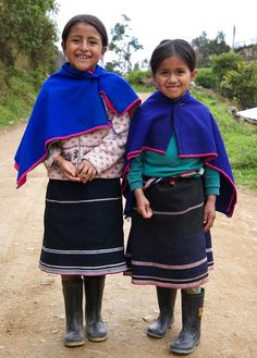 Guambiano girls in their traditional tribal outfit, Colombia