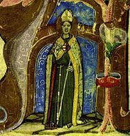 Louis of Toulouse  with the Hungarian-Anjou coat of arms on his chest. Image from the Hungarian Illuminated Chronicle-