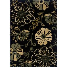 Oriental Weavers of America Alyssa 3-ft 10-in x 5-ft 5-in Black Floral Area Rug Laundry Room Rugs, Renovation Hardware, Floral Area Rugs, Dining Room Inspiration, Entry Hall, Lowes Home Improvements, Oriental, Carpet, America