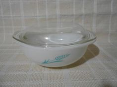RARE Vintage Pyrex Glass Turquoise Blue Wheat Casserole Dish Bowl Ovenware | eBay