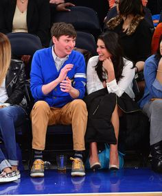 """Saturday Night Live"" cast members Mike O'Brien and Cecily Strong attend the Philadelphia 76ers vs New York Knicks game at Madison Square Garden in New York on March 10, 2014. Check out other Celebs Spotted at Madison Square Garden! http://celebhotspots.com/hotspot/?hotspotid=6449&next=1"
