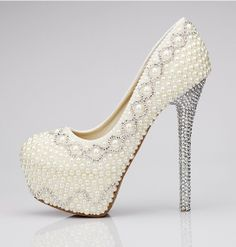 Rhinestone Bead Embellishment High Heel Women Wedding Shoes