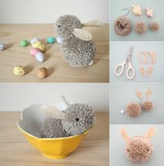 How Cute Are These Pom-Pom Easter Bunnies