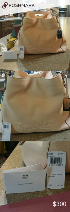 "Coach HRS CAR EDIE bag in Apricot colored leather Brand new condition. Carried one day and I left it in the backseat of my Tahoe most of the day. So, no signs of wear. Color is ""apricot."" Very large. Two side compartments with additional, center large zip compartment. Roomy.   original tags included.   Will consider reasonable offers but will likely keep for any lower of a price. Coach Bags Satchels"