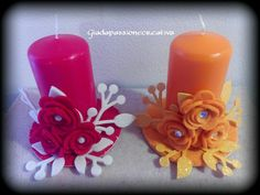 Candele decorate Christmas Design, Christmas Crafts, Christmas Decorations, Big Shot, Plastic Spoon Crafts, Shots Ideas, Candle In The Wind, Candle Making, Pillar Candles