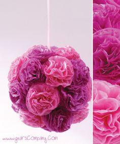 BePunt: DIY: flores en papel de seda by beulah Hanging Paper Flowers, Paper Flower Ball, Tissue Paper Flowers, Flower Crafts, Diy Flowers, Flower Decorations, Pretty Flowers, Paper Hearts, Diy Hanging
