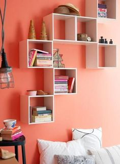 Great wall mounted book shelf idea would work great for kids rooms