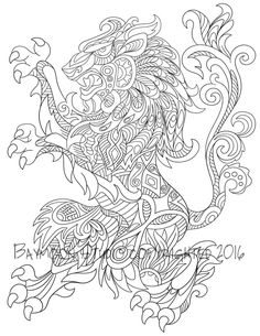 Regal Lion Coloring Page Printable Coloring Pages by BAYMOONSTUDIO