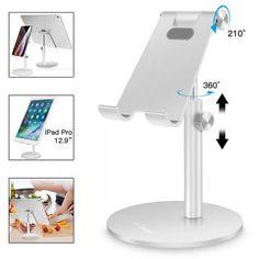 iPad Tablets Desktop Charging Dock for Android Foldable Portable Holder Cradle for Desk eReaders Smartphones ELV Adjustable Cell Phone Stand iPhone White