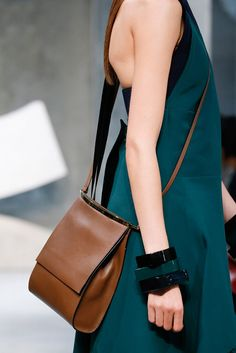 Marni Spring 2016 brown leather cross body bag. Beautiful, simple lines