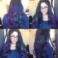 Dyed hair, under cut. Peacock inspired! cut and color by @daisydoll123