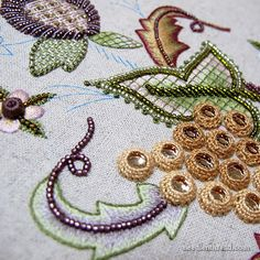 Battlement couching, beads, bullions on Late Harvest embroidery project - Mary Corbett
