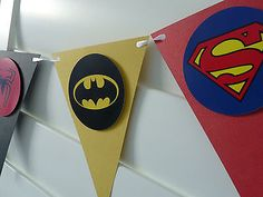 Superhero Superheroes Birthday Party Banner Bunting party decoration super hero in Home & Garden, Parties, Occasions, Balloons, Decorations Avengers Birthday, Batman Birthday, Superhero Birthday Party, 4th Birthday Parties, Boy Birthday, Cake Birthday, Superhero Party Supplies, Birthday Ideas, Superman Party