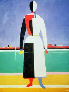 """""""Woman with a Rake"""" by Kazimir Malevich.  Later rejecting the flattened figures of Cubism, Malevich triumphantly launched Suprematism with entirely abstracted geometric shapes. He was eventually buried with a black square-adorning a white cube as his tombstone."""
