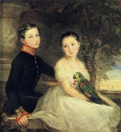 Children With A Parrot, by Christina Robertson (1796-1840,Scottish) Christina was one of the painters in the Russian Imperial Court