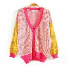 Sweet Colorblocked Polka Dots Pattern Knit Cardigan for Women
