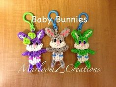 Rainbow Loom BABY EASTER BUNNY Key Chain. Designed and loomed by MarloomZ Creations. Click photo for YouTube tutorial. 04/07/14