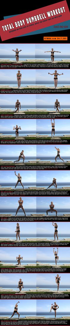 Total Body Dumbbell Workout. Transform your entire body with this killer routine! Click image to see exercises in GIF form. #fitness #exercise #workout #abs #health #weightloss