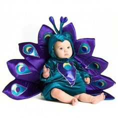 OMG THIS IS ADORABLE!!! <3    from Rightstart.com - Baby Peacock Costume has a pretty teal body with purple front accent. Matching hood features purple accents on the top and attached purple plums include yellow and teal detailing. Polyester. Hand wash.