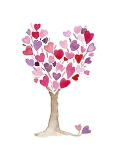 Pink purple Heart Tree art print of original by TheJoyofColor