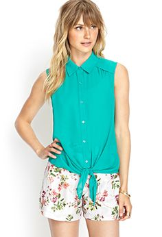 Chiffon Tie-Front Shirt | FOREVER 21 - 2000125033