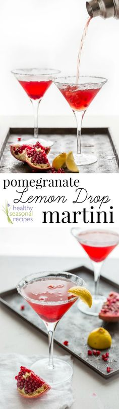 This pomegranate lemon drop martini cocktail is a festive way to celebrate this holiday season. It is sweet, tart and a beautiful ruby red color!