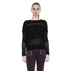 Dana sweater - black by one grey day - drop shoulder pullover with open gage and rib contrast