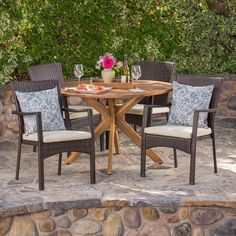 Noble House Hugo Wood and Wicker Circular Outdoor Dining Set with Crme Cushion 41496 - The Home Depot Outdoor Dining Set, Patio Dining, Outdoor Furniture Sets, Outdoor Decor, Deck Furniture, Outdoor Living, Wicker Dining Chairs, Brown Cushions, Patio Bar Set
